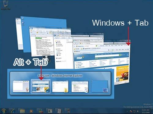 คำสั่ง Windows Tab และ Alt Tab ใน Windows 7